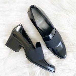 Stuart Weitzman Oliver Black Leather Loafers